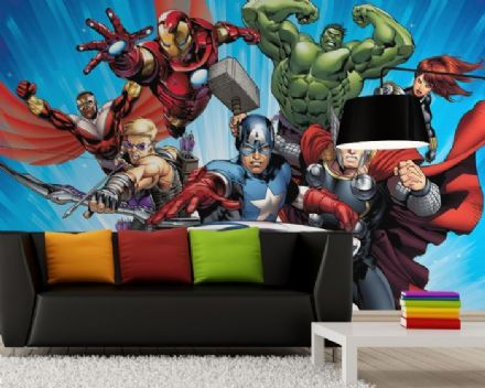 Avengers childrens room wallpaper mural